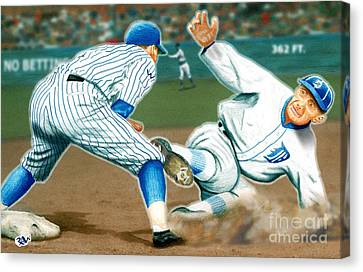 Ty Cobb Coming In Hot Canvas Print by Robert Williams