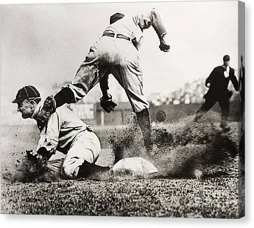 Baseball Glove Canvas Print - Ty Cobb Gets A Triple by Jon Neidert