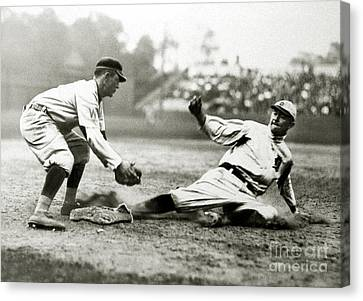 Baseball Glove Canvas Print - Ty Cobb Safe At Third  by Jon Neidert