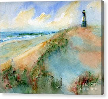 Tybee Dunes And Lighthouse Canvas Print by Doris Blessington