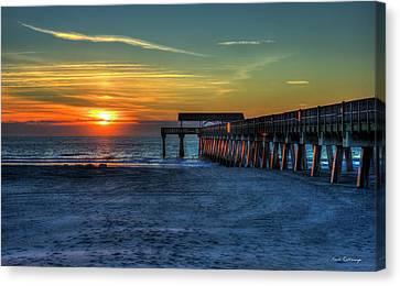 Tybee Island Pier Reflections Tybee Island Georgia Sunrise Art Canvas Print by Reid Callaway