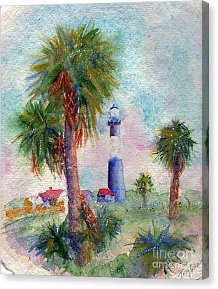 Tybee Lighthouse And Palms Canvas Print by Doris Blessington