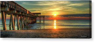 Tybee Pier Panorama Sunrise Art Canvas Print by Reid Callaway