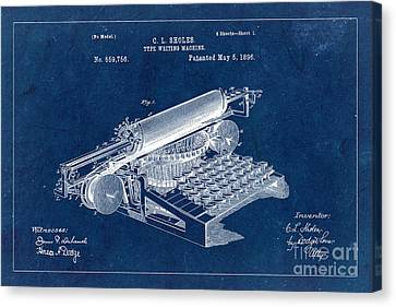 Type Writing Machine Patent From 1896 - Blue Canvas Print