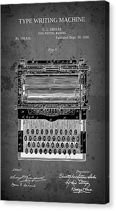 Typewriter Keys Canvas Print - Type Writing Machine Patent 1896 by Daniel Hagerman