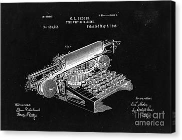 Type Writing Machine Patent From 1896  - Black Canvas Print