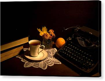 Typewriter And Tea Canvas Print by Levin Rodriguez