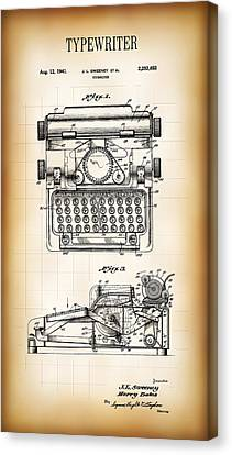 Typewriter Keys Canvas Print - Typewriter Patent 1941 by Daniel Hagerman