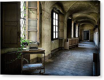 Canvas Print featuring the photograph Typewriter Story Of Abandoned Building - Urbex Exploration by Dirk Ercken
