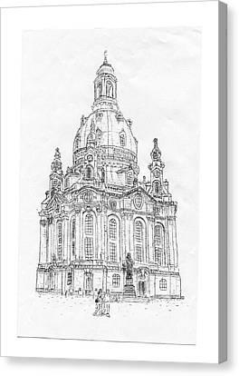 Typewritten Frauenkirche/dresden Canvas Print by Robert Doerfler