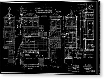 Typical Chicago River Bascule Bridge Operator House Blueprint  1910 Canvas Print by Daniel Hagerman