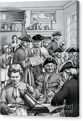 Typical London Coffee House In The 18th Century Canvas Print by Pat Nicolle
