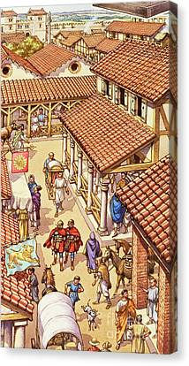 Typical London Street In Roman Times Canvas Print