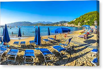 Typical Vacation Beach With Beachchairs And Sunshades At Sunset Canvas Print by JR Photography