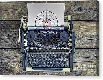 Symbolically Canvas Print - Typing Right On The Mark by Bratislav Stefanovic