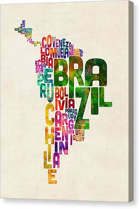 Typography Map Of Central And South America Canvas Print by Michael Tompsett