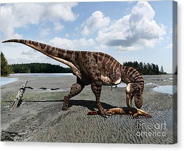 Tyrannosaurus Enjoying Seafood Canvas Print by Julius Csotonyi