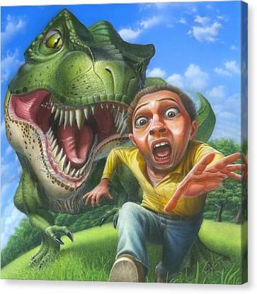 Tyrannosaurus Rex Jurassic Park Dinosaur - T Rex - T Rex - Extinct Predator - Square Format Canvas Print by Walt Curlee