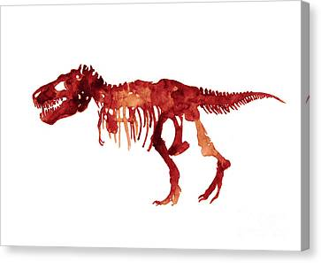 Tyrannosaurus Rex Skeleton Poster, T Rex Watercolor Painting, Red Orange Animal World Art Print Canvas Print by Joanna Szmerdt