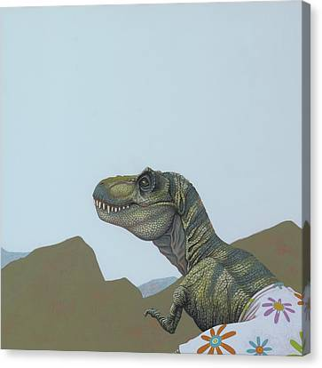 Extinct And Mythical Canvas Print - Tyranosaurus Rex by Jasper Oostland