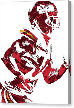 Canvas Print featuring the mixed media Tyreek Hill Kansas City Chiefs Pixel Art 1 by Joe Hamilton