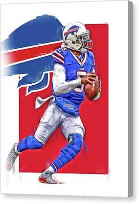 Buffalo Canvas Print - Tyrod Taylor Buffalo Bills Oil Art by Joe Hamilton