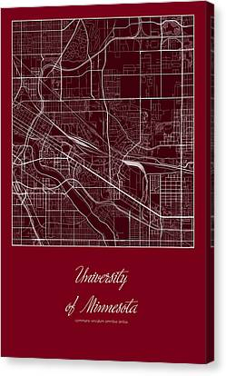 U Of M Street Map - University Of Minnesota Minneapolis Map Canvas Print by Jurq Studio