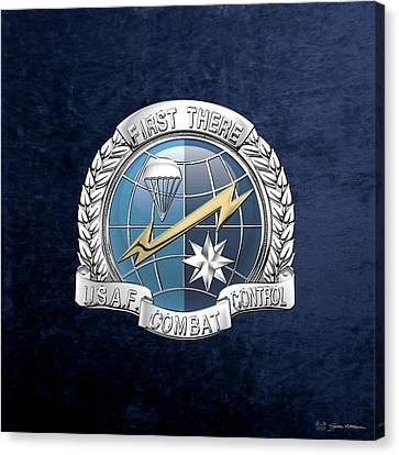 U. S.  Air Force Combat Control Teams - Combat Controller C C T Badge Over Blue Velvet Canvas Print by Serge Averbukh