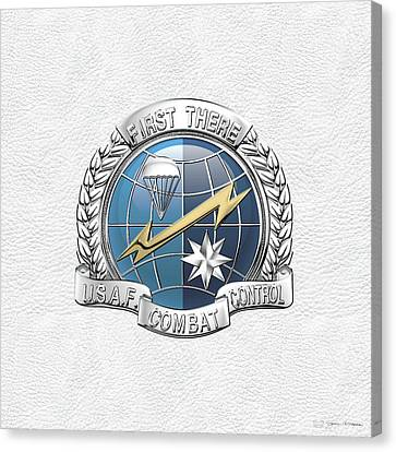 U. S.  Air Force Combat Control Teams - Combat Controller C C T Badge Over White Leather Canvas Print by Serge Averbukh
