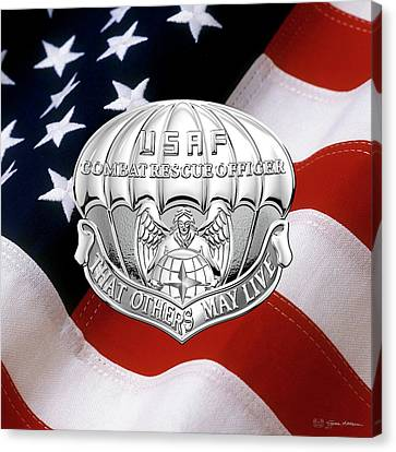 U. S.  Air Force Combat Rescue Officer - C R O Badge Over American Flag Canvas Print by Serge Averbukh