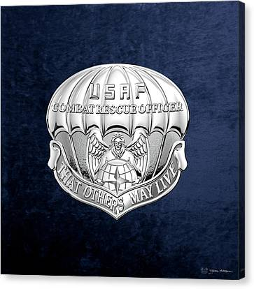 U. S.  Air Force Combat Rescue Officer - C R O Badge Over Blue Velvet Canvas Print by Serge Averbukh