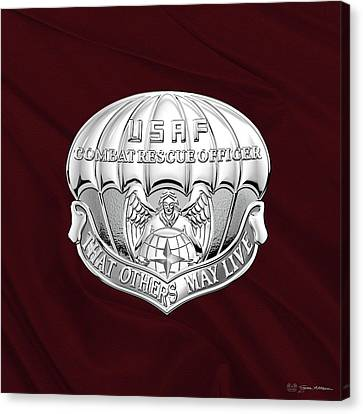 U. S.  Air Force Combat Rescue Officer - C R O Badge Over Maroon Felt Canvas Print by Serge Averbukh