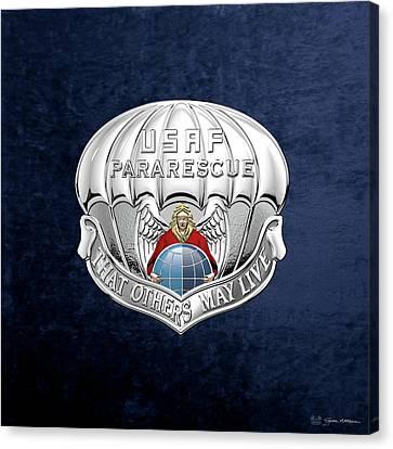 U. S.  Air Force Pararescuemen - P J Badge Over Blue Velvet Canvas Print by Serge Averbukh