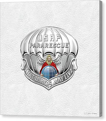 U. S.  Air Force Pararescuemen - P J Badge Over White Leather Canvas Print by Serge Averbukh