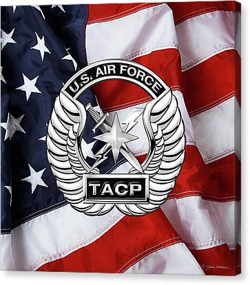U. S.  Air Force Tactical Air Control Party -  T A C P  Badge Over American Flag Canvas Print by Serge Averbukh