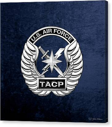 U. S.  Air Force Tactical Air Control Party -  T A C P  Badge Over Blue Velvet Canvas Print by Serge Averbukh