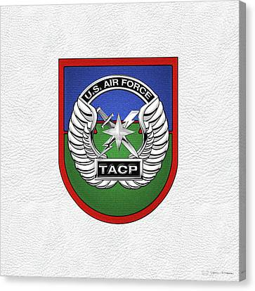 U. S.  Air Force Tactical Air Control Party -  T A C P  Beret Flash With Crest Over White Leather Canvas Print by Serge Averbukh