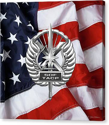 U. S.  Air Force Tactical Air Control Party - Usaf Special Tactics Tacp Badge Over American Flag Canvas Print by Serge Averbukh