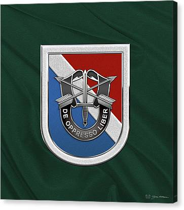 Abn Canvas Print - U. S.  Army 11th Special Forces Group - 11 S F G  Beret Flash Over Green Beret Felt by Serge Averbukh
