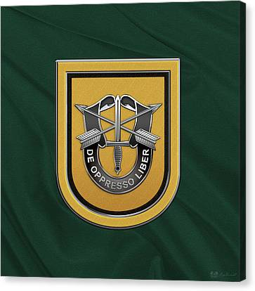 U. S.  Army 1st Special Forces Group - 1  S F G  Beret Flash Over Green Beret Felt Canvas Print