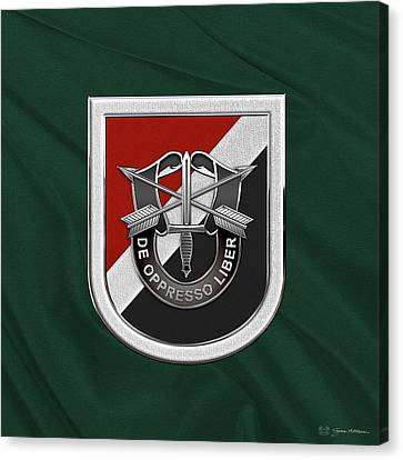 Abn Canvas Print - U. S.  Army 6th Special Forces Group - 6th S F G  Beret Flash Over Green Beret Felt by Serge Averbukh