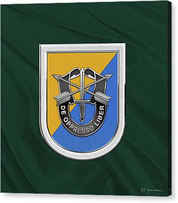Abn Canvas Print - U. S.  Army 8th Special Forces Group - 8 S F G  Beret Flash Over Green Beret Felt by Serge Averbukh