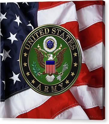 U. S. Army Emblem Over American Flag. Canvas Print
