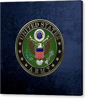 U. S.  Army Emblem Over Blue Velvet Canvas Print
