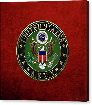 U. S.  Army Emblem Over Red Velvet Canvas Print