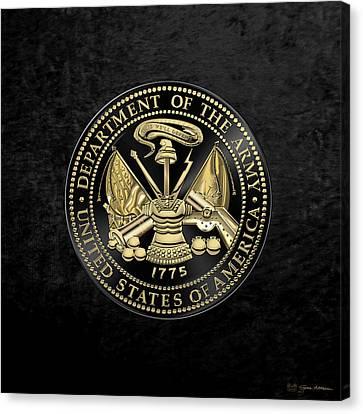 U. S. Army Seal Black Edition Over Black Velvet Canvas Print