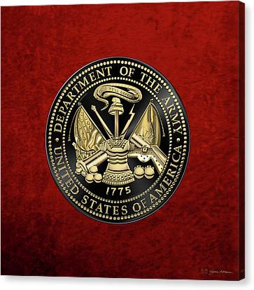 U. S. Army Seal Black Edition Over Red Velvet Canvas Print