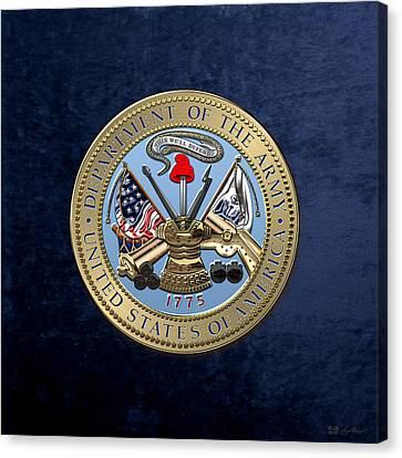 U. S. Army Seal Over Blue Velvet Canvas Print