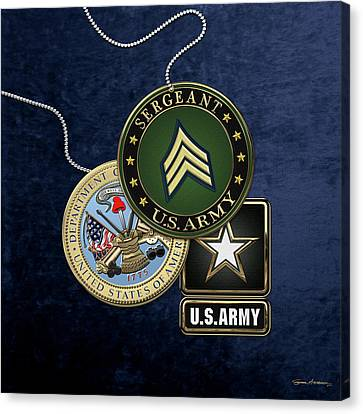 U. S. Army Sergeant  -  S G T  Rank Insignia With Army Seal And Logo Over Blue Velvet Canvas Print