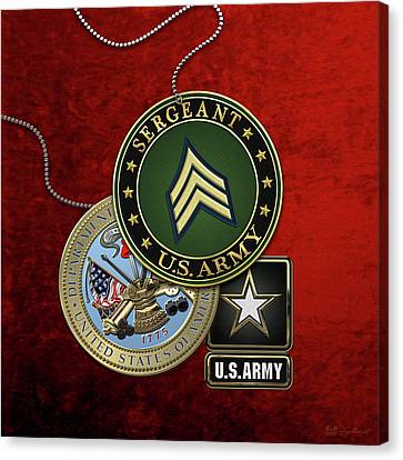 U. S. Army Sergeant  -  S G T  Rank Insignia With Army Seal And Logo Over Red Velvet Canvas Print